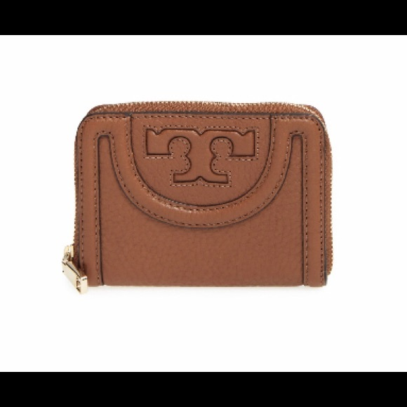 Tory Burch Handbags - Tory Burch 'Serif T' Leather Coin Case -Burk